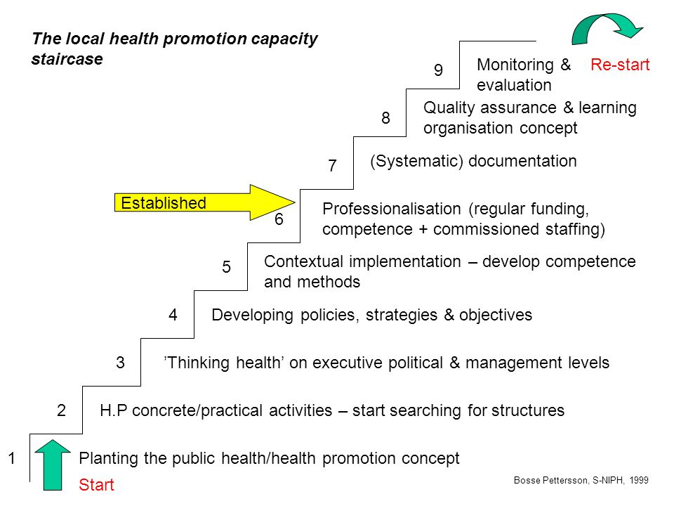 The local health promotion capacity staircase Bosse Pettersson, S-NIPH, 1999 1 2 3 4 5 6 7 8 9 Planting the public health/health promotion concept H.P concrete/practical activities – start searching for structures 'Thinking health' on executive political & management levels Developing policies, strategies & objectives Contextual implementation – develop competence and methods Professionalisation (regular funding, competence + commissioned staffing) (Systematic) documentation Quality assurance & learning organisation concept Monitoring & evaluation Established Start Re-start