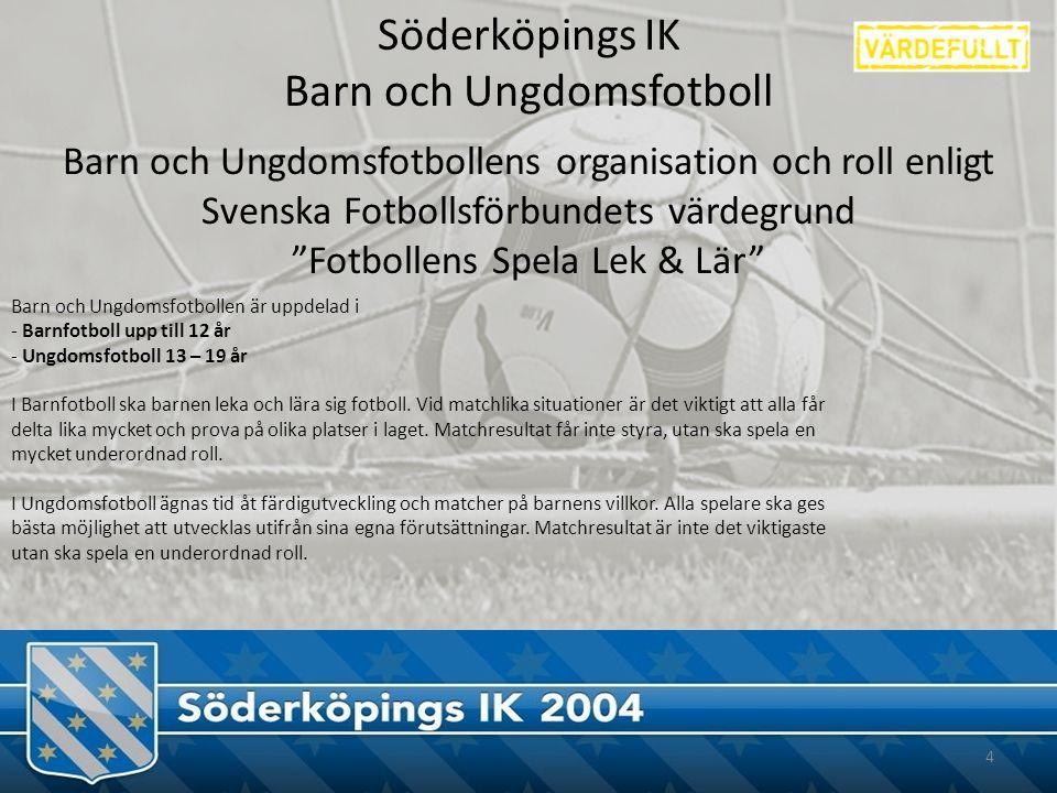 Söderköpings IK Barn och Ungdomsfotboll Barn och Ungdomsfotbollen är uppdelad i - Barnfotboll upp till 12 år - Ungdomsfotboll 13 – 19 år I Barnfotboll ska barnen leka och lära sig fotboll.
