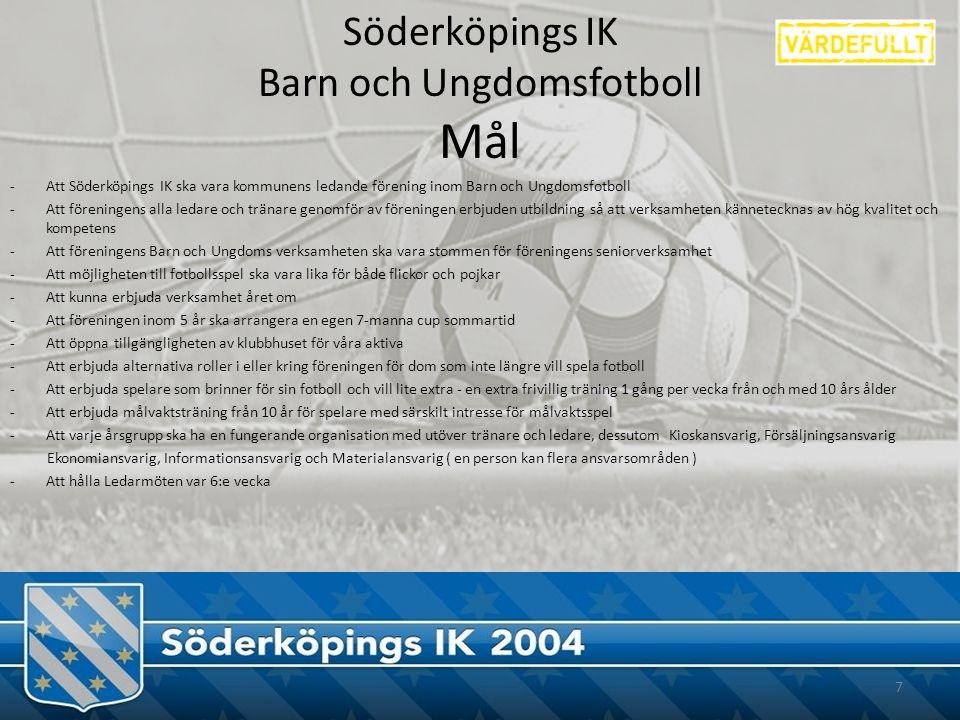 Söderköpings IK Barn och Ungdomsfotboll Mål -Att Söderköpings IK ska vara kommunens ledande förening inom Barn och Ungdomsfotboll -Att föreningens alla ledare och tränare genomför av föreningen erbjuden utbildning så att verksamheten kännetecknas av hög kvalitet och kompetens -Att föreningens Barn och Ungdoms verksamheten ska vara stommen för föreningens seniorverksamhet -Att möjligheten till fotbollsspel ska vara lika för både flickor och pojkar -Att kunna erbjuda verksamhet året om -Att föreningen inom 5 år ska arrangera en egen 7-manna cup sommartid -Att öppna tillgängligheten av klubbhuset för våra aktiva -Att erbjuda alternativa roller i eller kring föreningen för dom som inte längre vill spela fotboll -Att erbjuda spelare som brinner för sin fotboll och vill lite extra - en extra frivillig träning 1 gång per vecka från och med 10 års ålder -Att erbjuda målvaktsträning från 10 år för spelare med särskilt intresse för målvaktsspel -Att varje årsgrupp ska ha en fungerande organisation med utöver tränare och ledare, dessutom Kioskansvarig, Försäljningsansvarig Ekonomiansvarig, Informationsansvarig och Materialansvarig ( en person kan flera ansvarsområden ) -Att hålla Ledarmöten var 6:e vecka 7