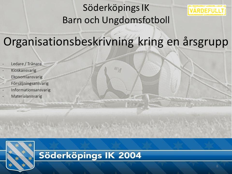 Söderköpings IK Barn och Ungdomsfotboll Organisationsbeskrivning kring en årsgrupp -Ledare / Tränare -Kioskansvarig -Ekonomiansvarig -Försäljningsansvarig -Informationsansvarig -Materialansvarig 8