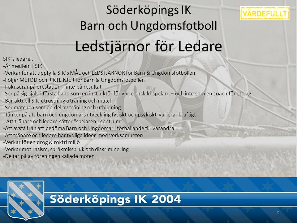 Söderköpings IK Barn och Ungdomsfotboll 9 Ledstjärnor för Ledare SIK´s ledare..