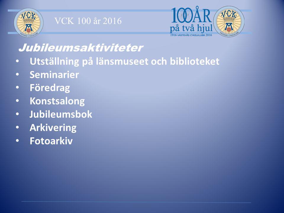 VCK 100 år 2016 Jubileumsaktiviteter Utställning på länsmuseet och biblioteket Seminarier Föredrag Konstsalong Jubileumsbok Arkivering Fotoarkiv