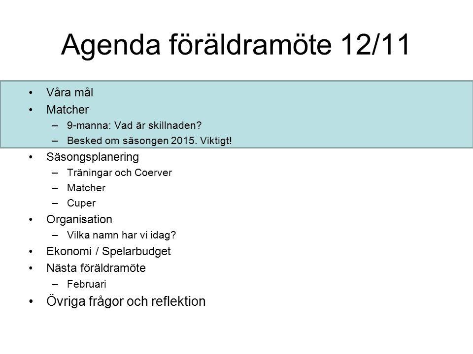 Agenda föräldramöte 12/11 Våra mål Matcher –9-manna: Vad är skillnaden.