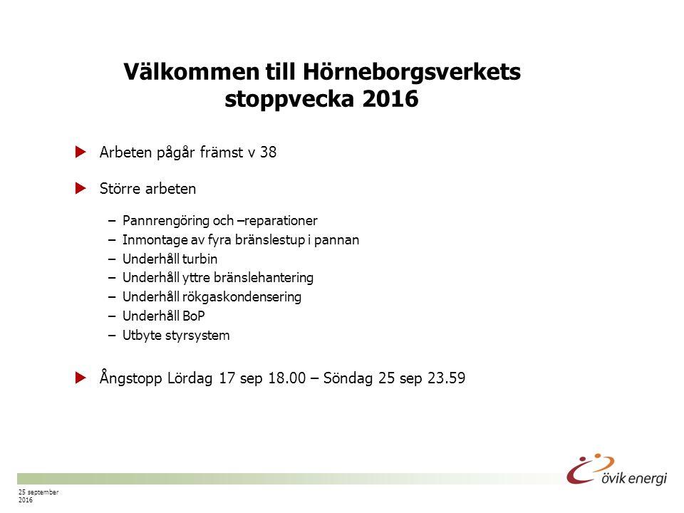 Sida nr 1 25 september 2016 Välkommen till Hörneborgsverkets stoppvecka 2016  Arbeten pågår främst v 38  Större arbeten –Pannrengöring och –reparationer –Inmontage av fyra bränslestup i pannan –Underhåll turbin –Underhåll yttre bränslehantering –Underhåll rökgaskondensering –Underhåll BoP –Utbyte styrsystem  Ångstopp Lördag 17 sep 18.00 – Söndag 25 sep 23.59