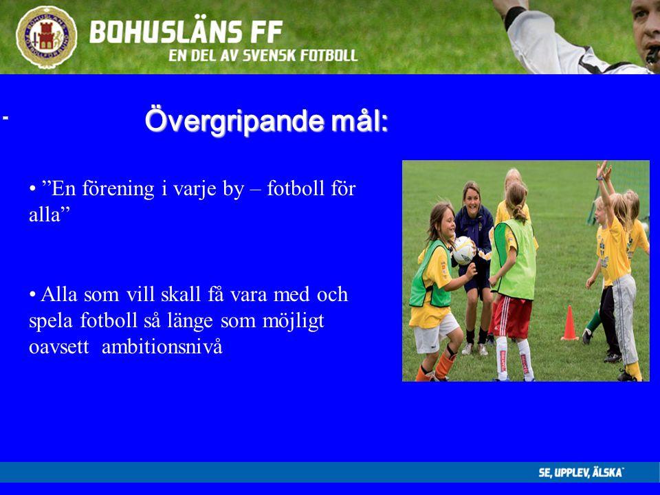 Övergripande mål: En förening i varje by – fotboll för alla Alla som vill skall få vara med och spela fotboll så länge som möjligt oavsett ambitionsnivå