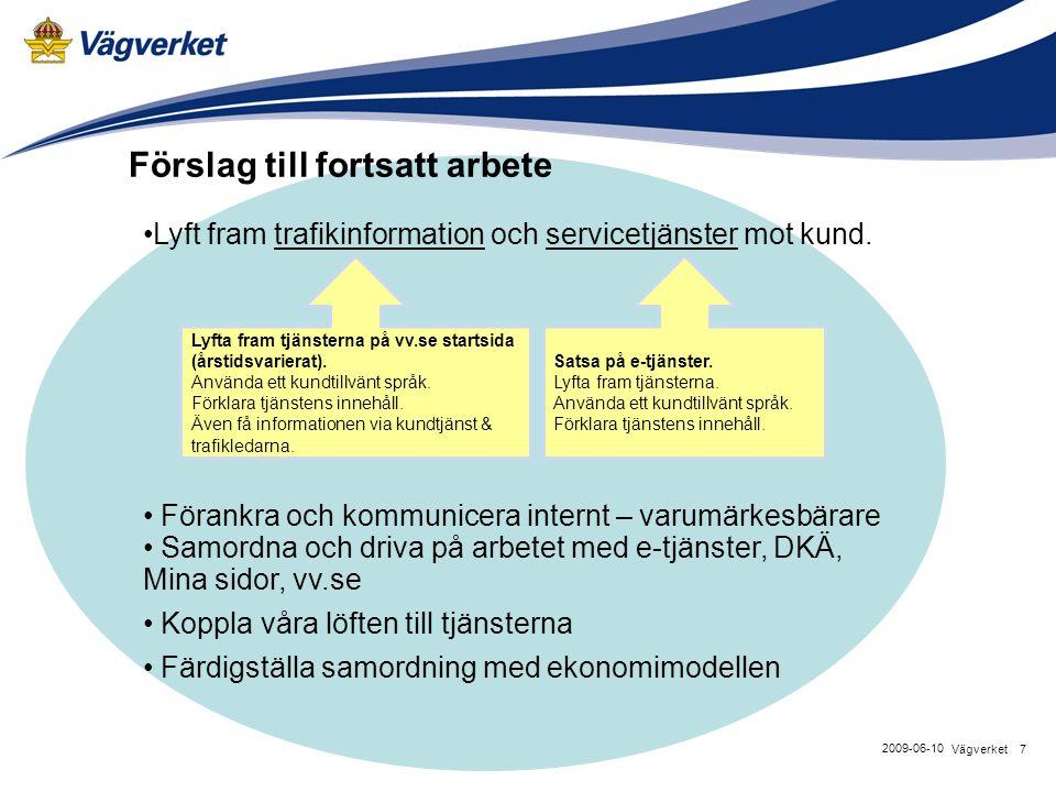 7Vägverket 2009-06-10 Lyft fram trafikinformation och servicetjänster mot kund. Förankra och kommunicera internt – varumärkesbärare Samordna och driva