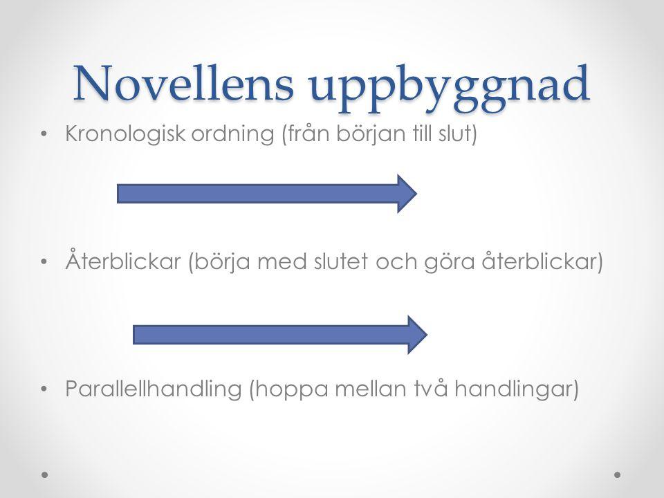 Novellens uppbyggnad Kronologisk ordning (från början till slut) Återblickar (börja med slutet och göra återblickar) Parallellhandling (hoppa mellan två handlingar)
