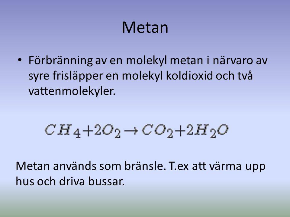 Metan Förbränning av en molekyl metan i närvaro av syre frisläpper en molekyl koldioxid och två vattenmolekyler.