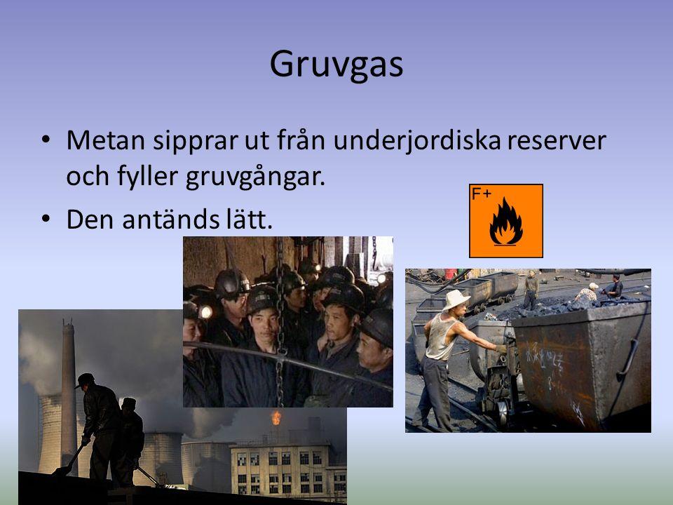 Gruvgas Metan sipprar ut från underjordiska reserver och fyller gruvgångar. Den antänds lätt.