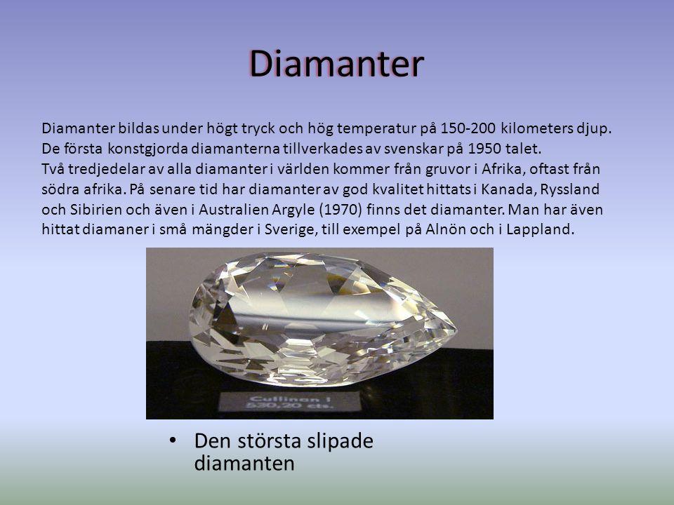 Diamanter Den största slipade diamanten Diamanter bildas under högt tryck och hög temperatur på 150-200 kilometers djup.