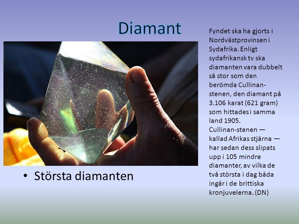 Största diamanten Fyndet ska ha gjorts i Nordvästprovinsen i Sydafrika.