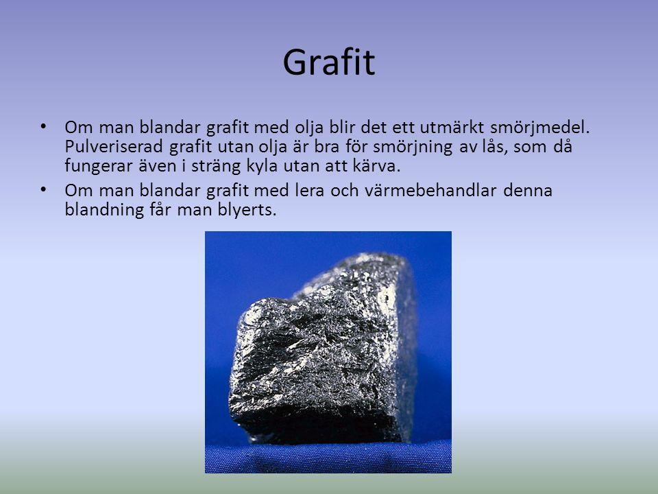 Grafit Inom lagren sitter atomerna fast hårt, men mellan lagren mindre hårt.