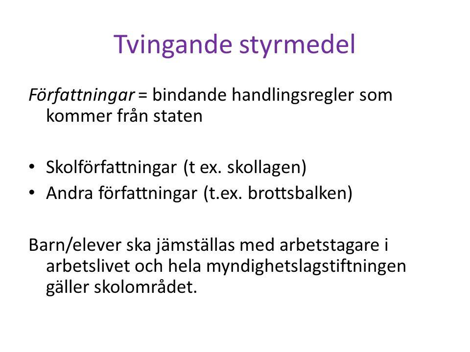 Tre typer.Lagar ; stiftas av riksdagen Förordningar ; (t.ex.