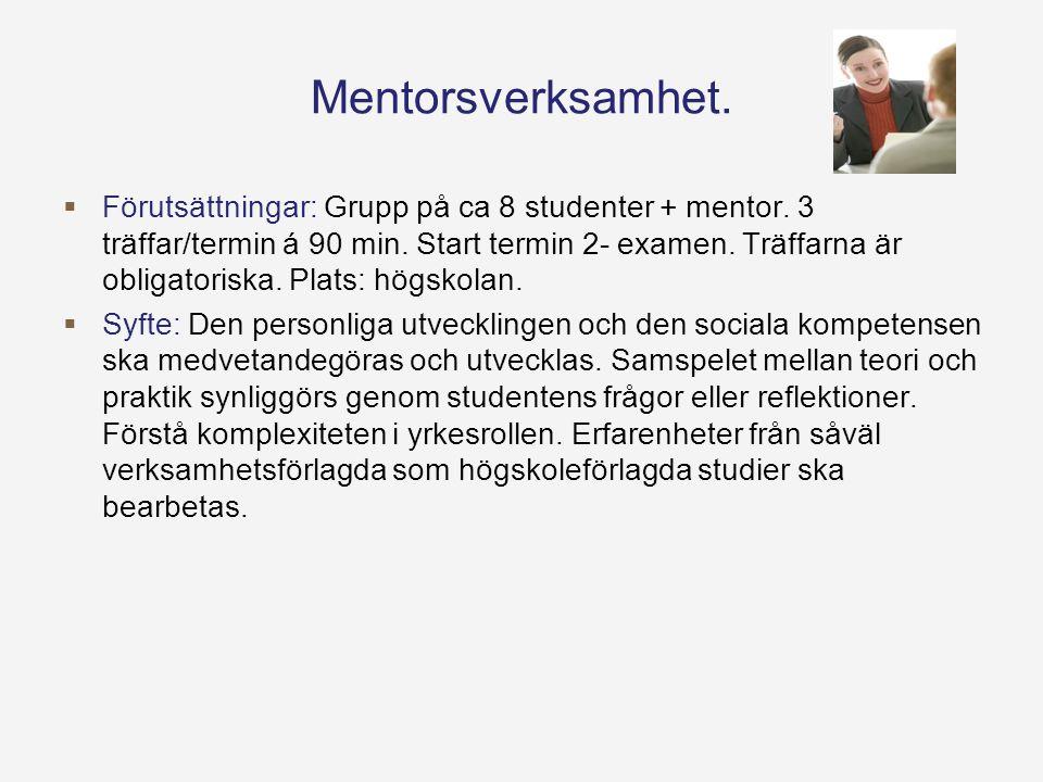 Mentorsverksamhet.  Förutsättningar: Grupp på ca 8 studenter + mentor.