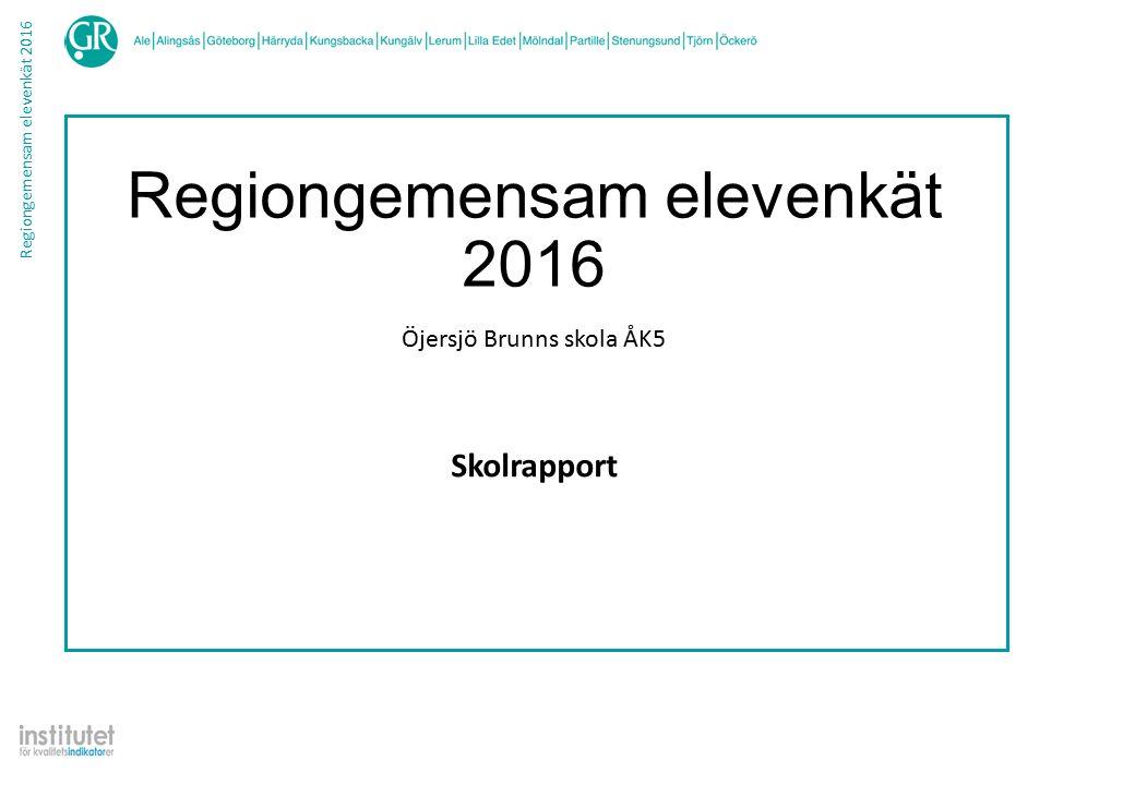 Regiongemensam elevenkät 2016 Jämförelse - Helhetsbedömning Värde 10987654321Vet ej Skolrapport Öjersjö Brunns skola ÅK5 Rapporten bygger på svar från 45 elever av 45 möjliga, vilket utgör en svarsfrekvens på 100.0% Nedan redovisas andelen som valt respektive svarsalternativ.