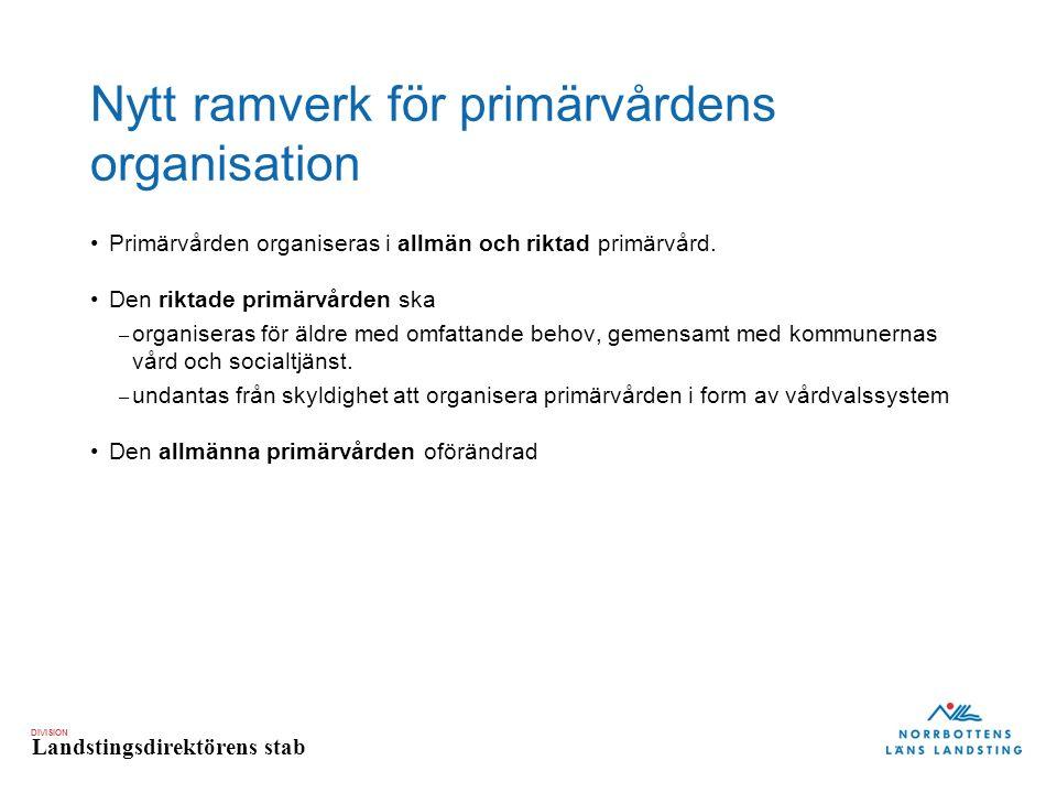 DIVISION Landstingsdirektörens stab Nytt ramverk för primärvårdens organisation Primärvården organiseras i allmän och riktad primärvård.