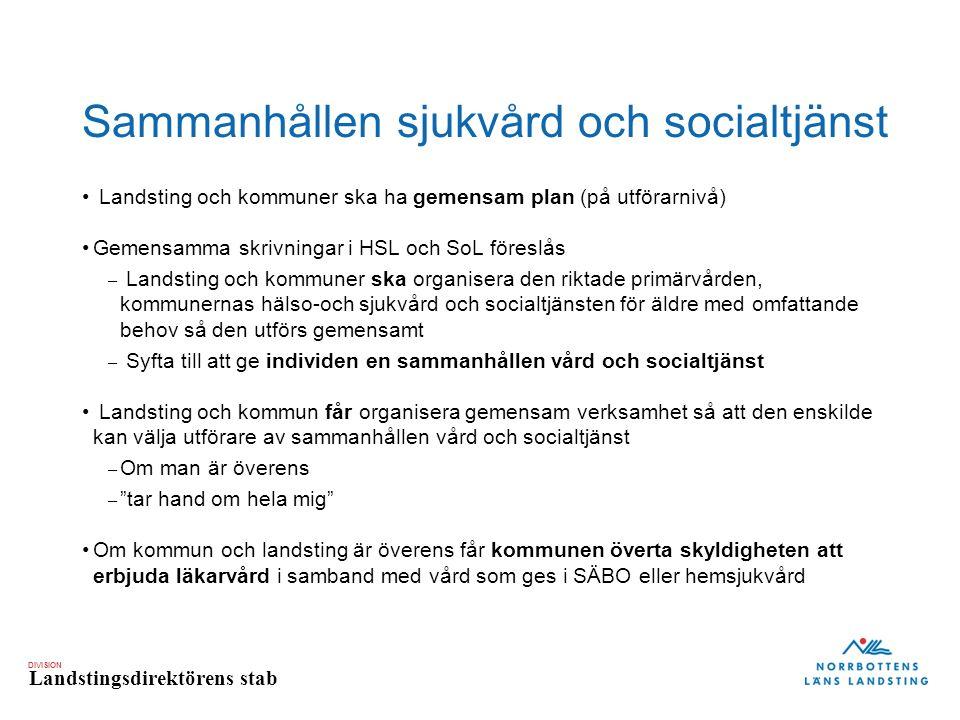 DIVISION Landstingsdirektörens stab Sammanhållen sjukvård och socialtjänst Landsting och kommuner ska ha gemensam plan (på utförarnivå) Gemensamma skr