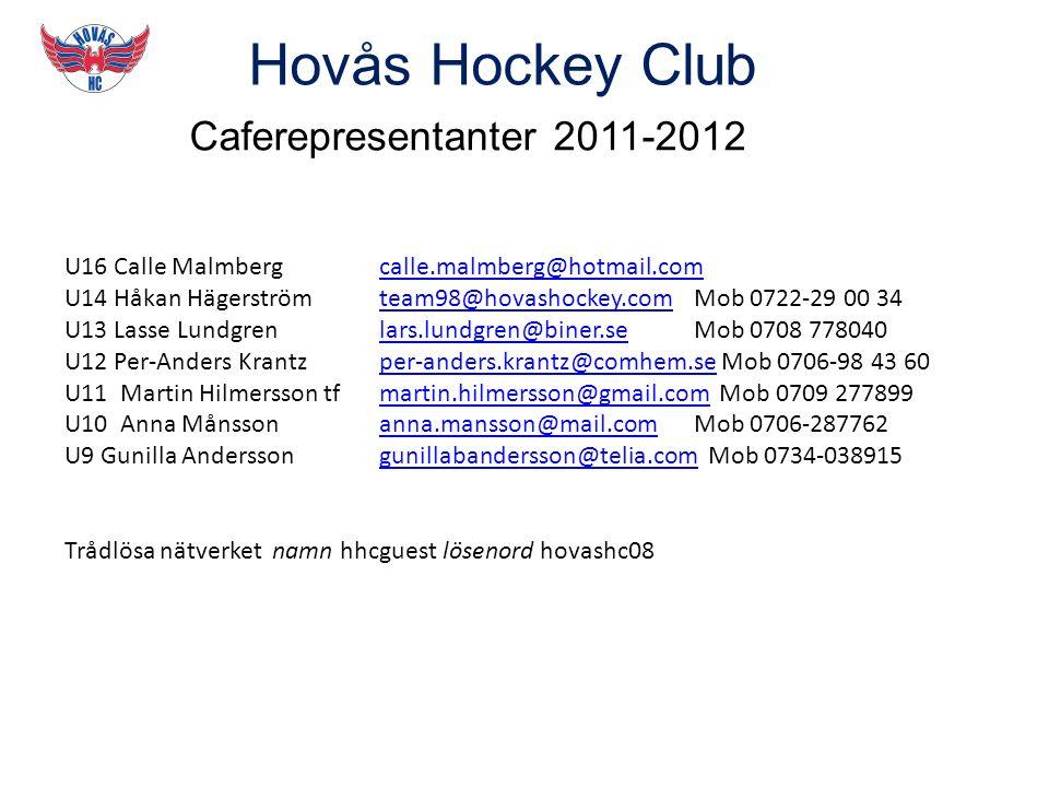 Hovås Hockey Club Caferepresentanter 2011-2012 U16 Calle Malmberg calle.malmberg@hotmail.comcalle.malmberg@hotmail.com U14 Håkan Hägerström team98@hovashockey.comMob 0722-29 00 34team98@hovashockey.com U13 Lasse Lundgren lars.lundgren@biner.se Mob 0708 778040lars.lundgren@biner.se U12 Per-Anders Krantz per-anders.krantz@comhem.se Mob 0706-98 43 60per-anders.krantz@comhem.se U11 Martin Hilmersson tf martin.hilmersson@gmail.com Mob 0709 277899martin.hilmersson@gmail.com U10 Anna Månsson anna.mansson@mail.comMob 0706-287762anna.mansson@mail.com U9 Gunilla Andersson gunillabandersson@telia.com Mob 0734-038915gunillabandersson@telia.com Trådlösa nätverket namn hhcguest lösenord hovashc08