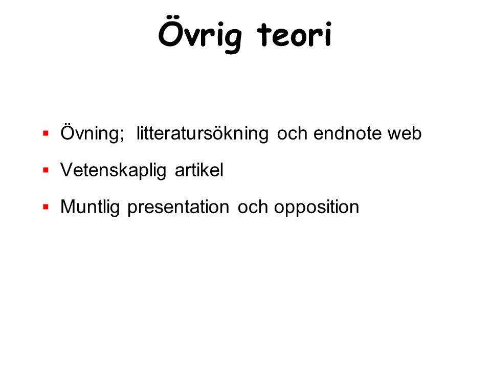 Övrig teori  Övning; litteratursökning och endnote web  Vetenskaplig artikel  Muntlig presentation och opposition