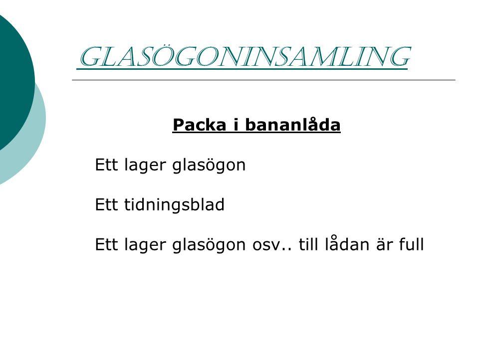 GLASÖGONINSAMLING Packa i bananlåda Ett lager glasögon Ett tidningsblad Ett lager glasögon osv..