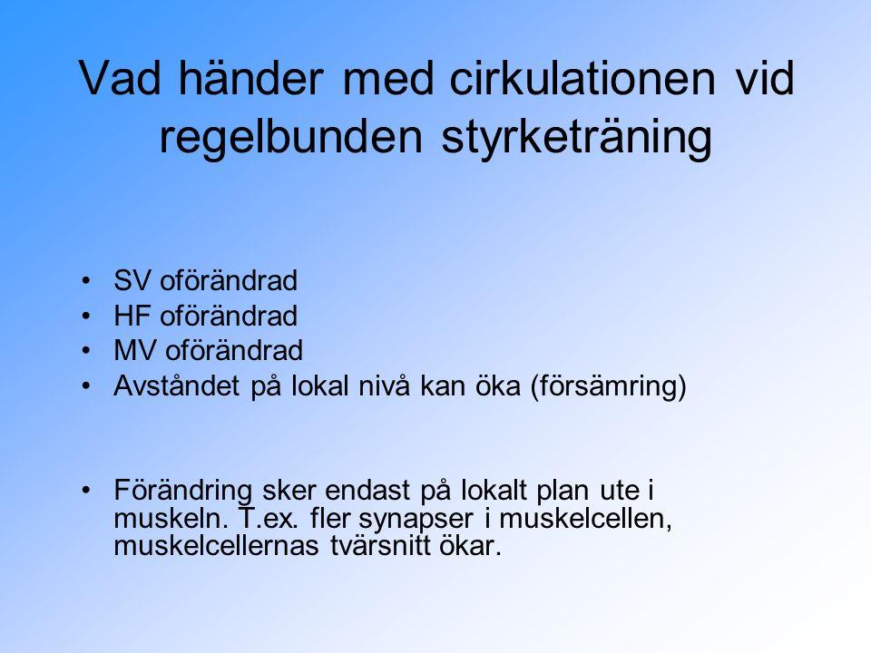 Vad händer med cirkulationen vid regelbunden styrketräning SV oförändrad HF oförändrad MV oförändrad Avståndet på lokal nivå kan öka (försämring) Förändring sker endast på lokalt plan ute i muskeln.