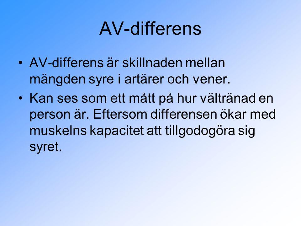 AV-differens AV-differens är skillnaden mellan mängden syre i artärer och vener.