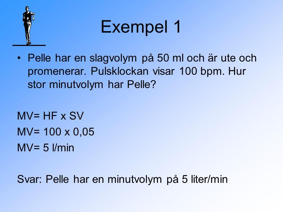Exempel 1 Pelle har en slagvolym på 50 ml och är ute och promenerar.