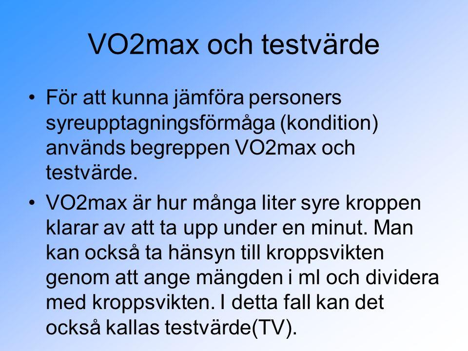 VO2max och testvärde För att kunna jämföra personers syreupptagningsförmåga (kondition) används begreppen VO2max och testvärde.