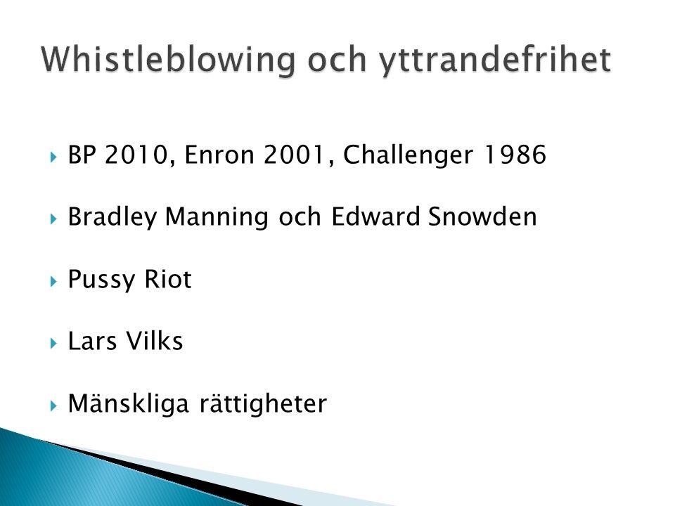  BP 2010, Enron 2001, Challenger 1986  Bradley Manning och Edward Snowden  Pussy Riot  Lars Vilks  Mänskliga rättigheter