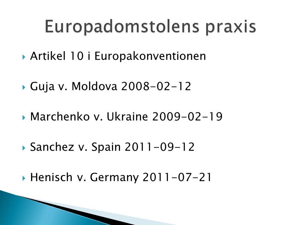  Artikel 10 i Europakonventionen  Guja v. Moldova 2008-02-12  Marchenko v.