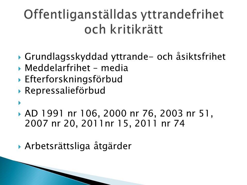  Grundlagsskyddad yttrande- och åsiktsfrihet  Meddelarfrihet – media  Efterforskningsförbud  Repressalieförbud   AD 1991 nr 106, 2000 nr 76, 2003 nr 51, 2007 nr 20, 2011nr 15, 2011 nr 74  Arbetsrättsliga åtgärder