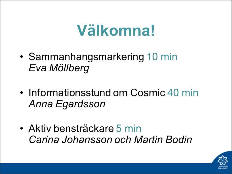 Välkomna! Sammanhangsmarkering 10 min Eva Möllberg Informationsstund om Cosmic 40 min Anna Egardsson Aktiv bensträckare 5 min Carina Johansson och Mar