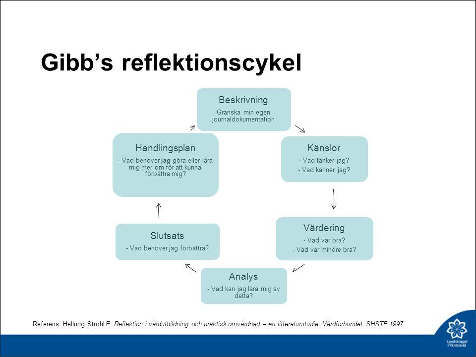 Gibb's reflektionscykel Beskrivning Granska min egen journaldokumentation Känslor - Vad tänker jag? - Vad känner jag? Värdering - Vad var bra? - Vad v