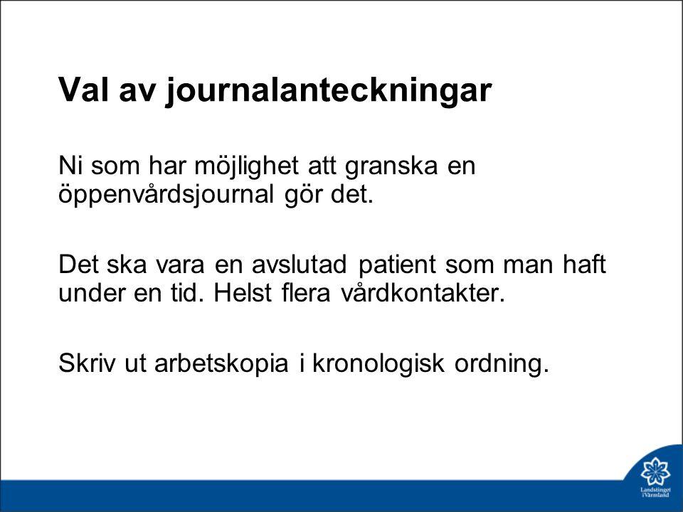 Val av journalanteckningar Ni som har möjlighet att granska en öppenvårdsjournal gör det. Det ska vara en avslutad patient som man haft under en tid.
