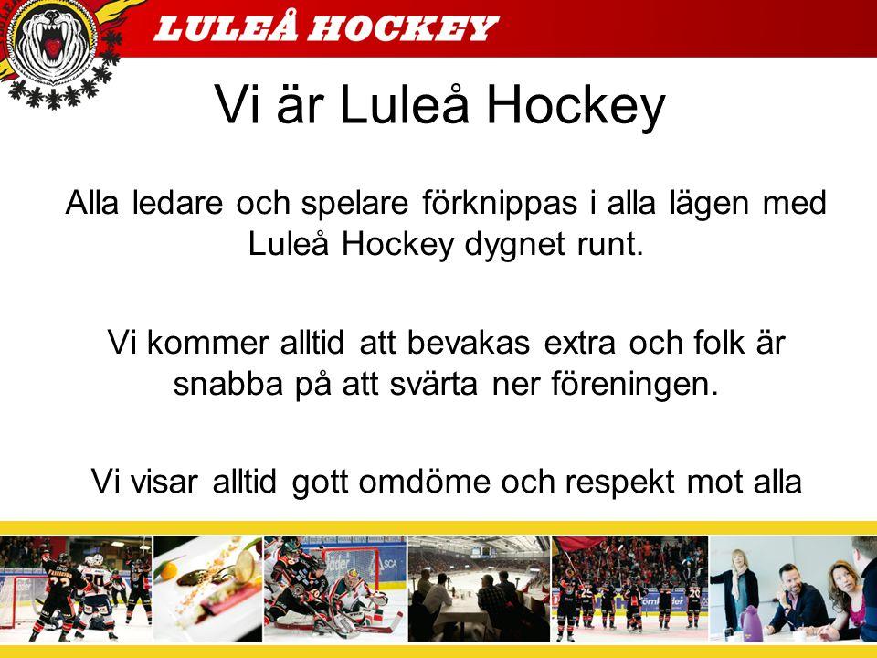 Vi är Luleå Hockey Alla ledare och spelare förknippas i alla lägen med Luleå Hockey dygnet runt. Vi kommer alltid att bevakas extra och folk är snabba