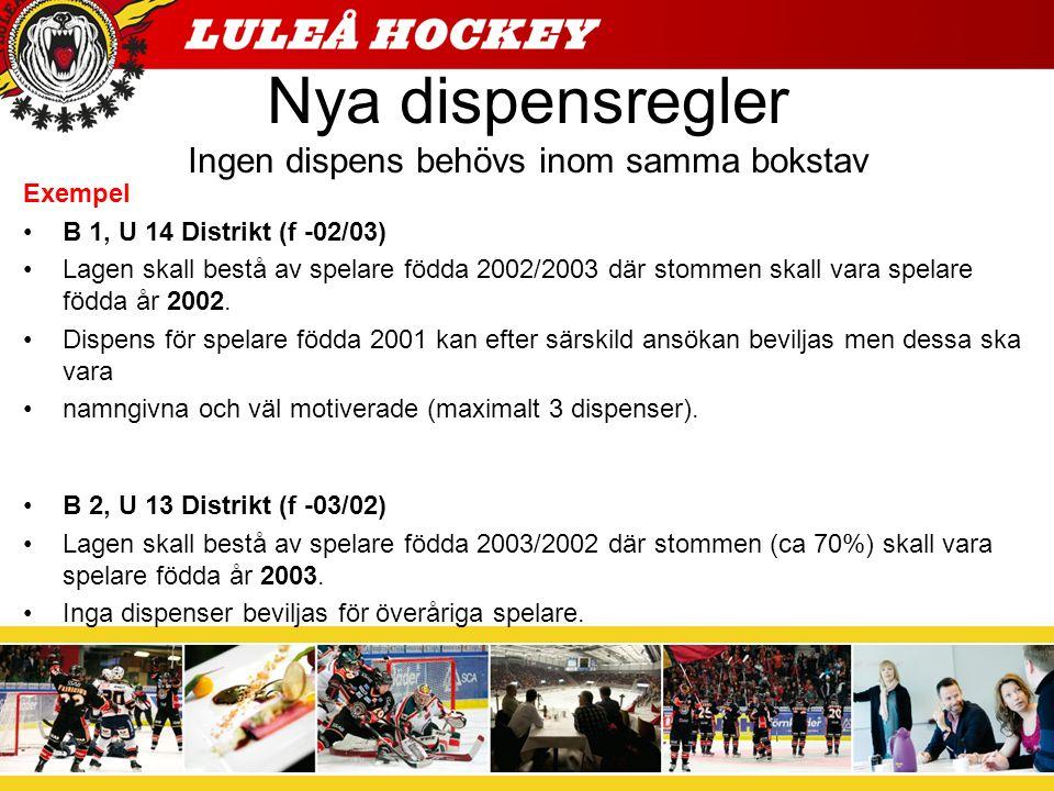 Nya dispensregler Ingen dispens behövs inom samma bokstav Exempel B 1, U 14 Distrikt (f -02/03) Lagen skall bestå av spelare födda 2002/2003 där stommen skall vara spelare födda år 2002.