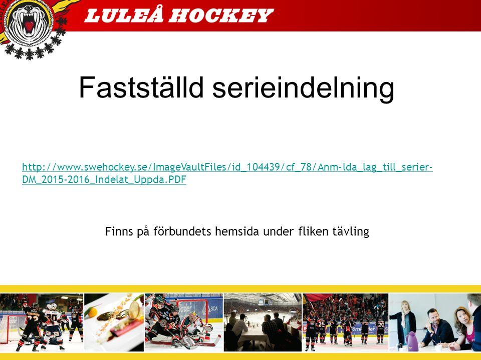 Fastställd serieindelning http://www.swehockey.se/ImageVaultFiles/id_104439/cf_78/Anm-lda_lag_till_serier- DM_2015-2016_Indelat_Uppda.PDF Finns på förbundets hemsida under fliken tävling