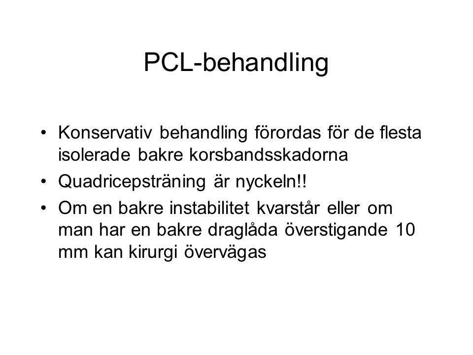PCL-behandling Konservativ behandling förordas för de flesta isolerade bakre korsbandsskadorna Quadricepsträning är nyckeln!.