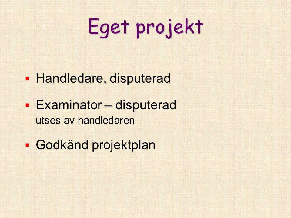 Eget projekt  Handledare, disputerad  Examinator – disputerad utses av handledaren  Godkänd projektplan