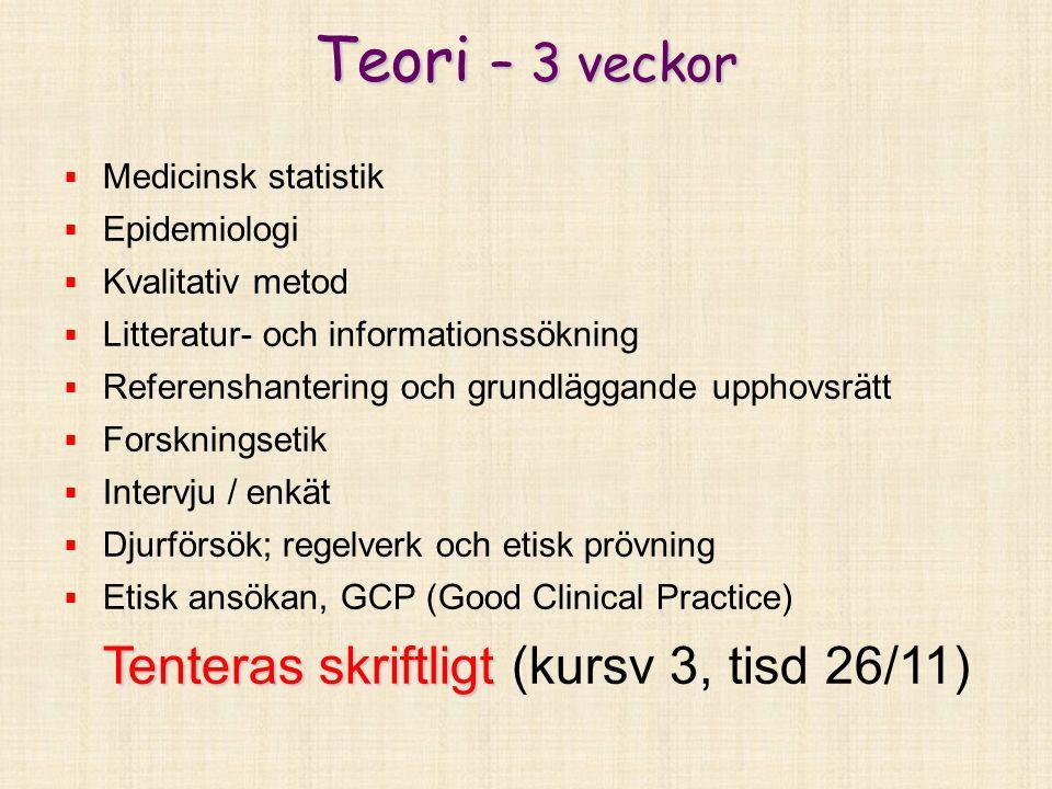 Teori – obligatoriska moment Epidemiologi – seminarieövningar