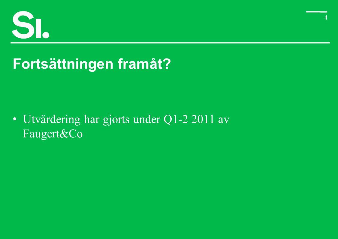 4 Fortsättningen framåt? Utvärdering har gjorts under Q1-2 2011 av Faugert&Co