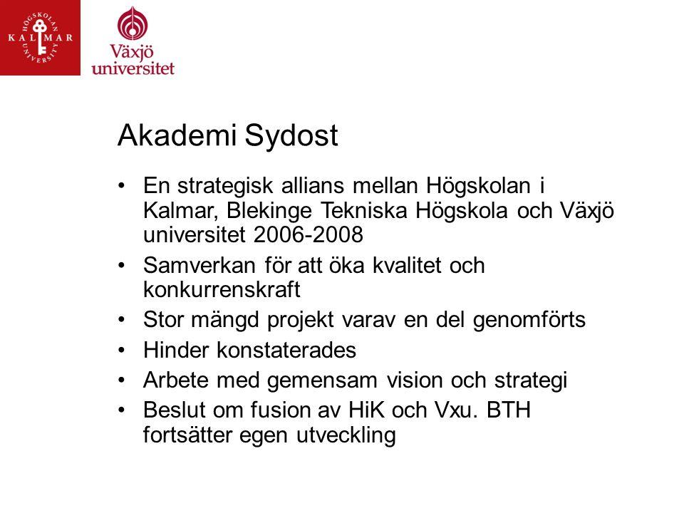 Akademi Sydost En strategisk allians mellan Högskolan i Kalmar, Blekinge Tekniska Högskola och Växjö universitet 2006-2008 Samverkan för att öka kvalitet och konkurrenskraft Stor mängd projekt varav en del genomförts Hinder konstaterades Arbete med gemensam vision och strategi Beslut om fusion av HiK och Vxu.