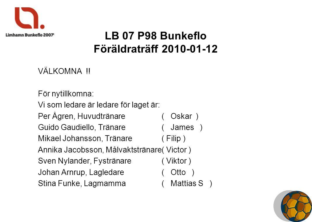 LB 07 P98 Bunkeflo Föräldraträff 2010-01-12 VÄLKOMNA !.
