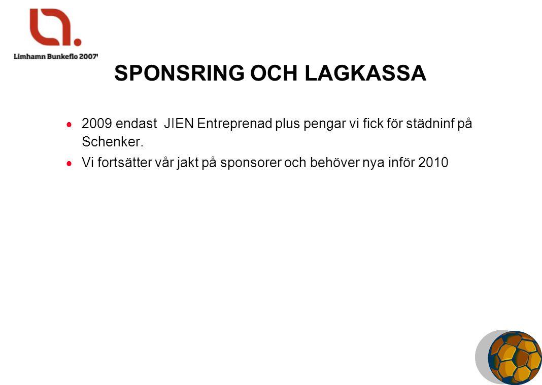 SPONSRING OCH LAGKASSA  2009 endast JIEN Entreprenad plus pengar vi fick för städninf på Schenker.