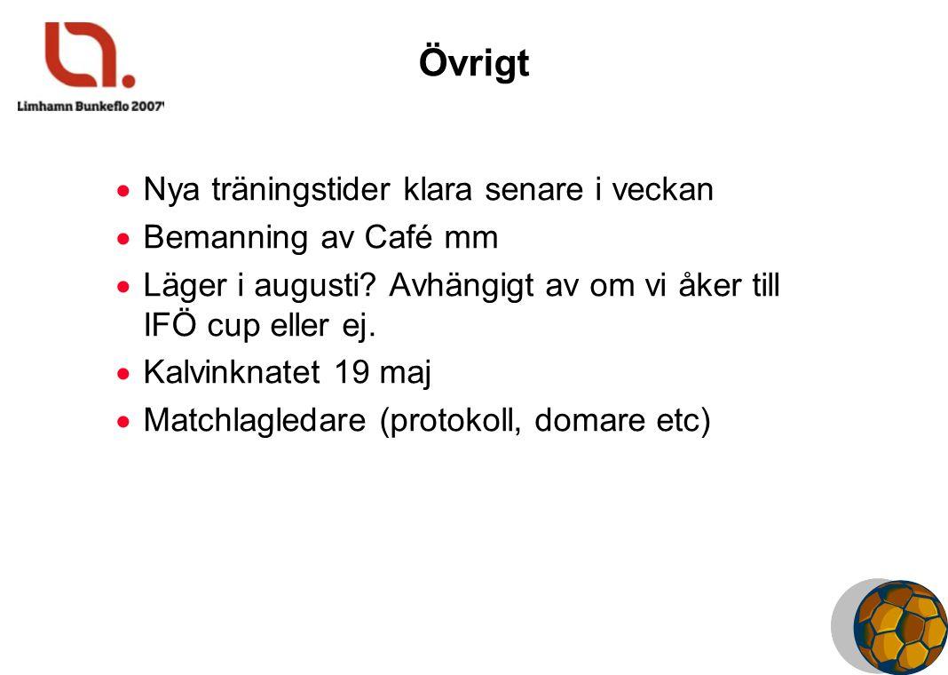 Övrigt  Nya träningstider klara senare i veckan  Bemanning av Café mm  Läger i augusti? Avhängigt av om vi åker till IFÖ cup eller ej.  Kalvinknat