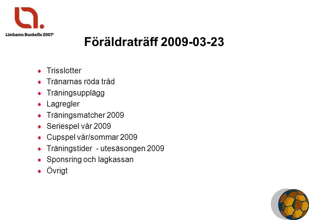 Föräldraträff 2009-03-23  Trisslotter  Tränarnas röda tråd  Träningsupplägg  Lagregler  Träningsmatcher 2009  Seriespel vår 2009  Cupspel vår/s