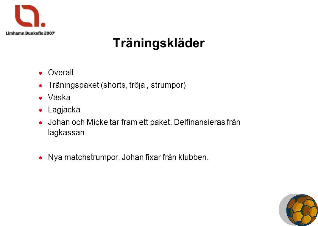 Träningskläder  Overall  Träningspaket (shorts, tröja, strumpor)  Väska  Lagjacka  Johan och Micke tar fram ett paket. Delfinansieras från lagkas