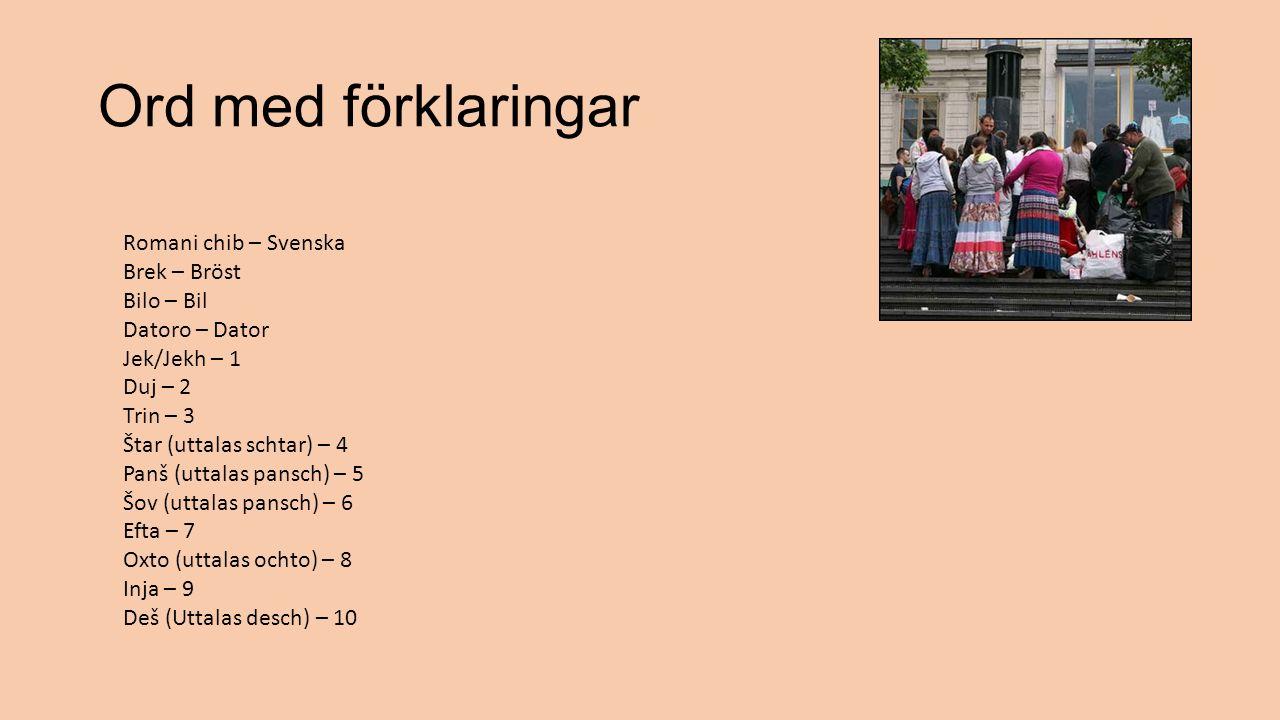 Ord med förklaringar Romani chib – Svenska Brek – Bröst Bilo – Bil Datoro – Dator Jek/Jekh – 1 Duj – 2 Trin – 3 Štar (uttalas schtar) – 4 Panš (uttala