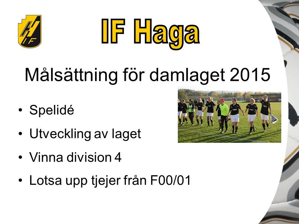 Målsättning för damlaget 2015 Spelidé Utveckling av laget Vinna division 4 Lotsa upp tjejer från F00/01