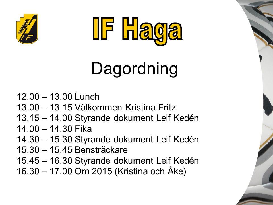 Dagordning 12.00 – 13.00 Lunch 13.00 – 13.15 Välkommen Kristina Fritz 13.15 – 14.00 Styrande dokument Leif Kedén 14.00 – 14.30 Fika 14.30 – 15.30 Styrande dokument Leif Kedén 15.30 – 15.45 Bensträckare 15.45 – 16.30 Styrande dokument Leif Kedén 16.30 – 17.00 Om 2015 (Kristina och Åke)